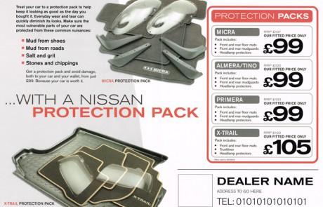 Nissan protection pack leaflet inside spread.